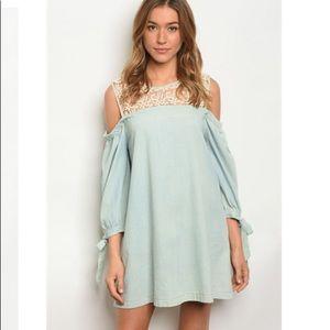 Hayden LA Denim Lace Cold Shoulder Dress